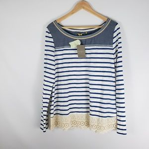 ANTHRO LITTLE YELLOW BUTTON Blue Striped Top Lace
